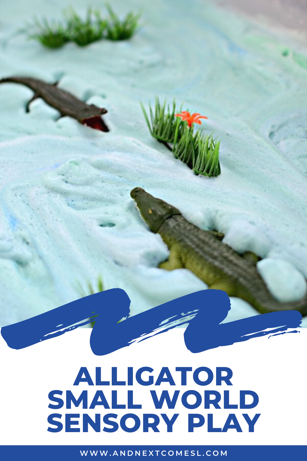 Alligator swamp sensory bin and small world activity for toddlers and preschool kids