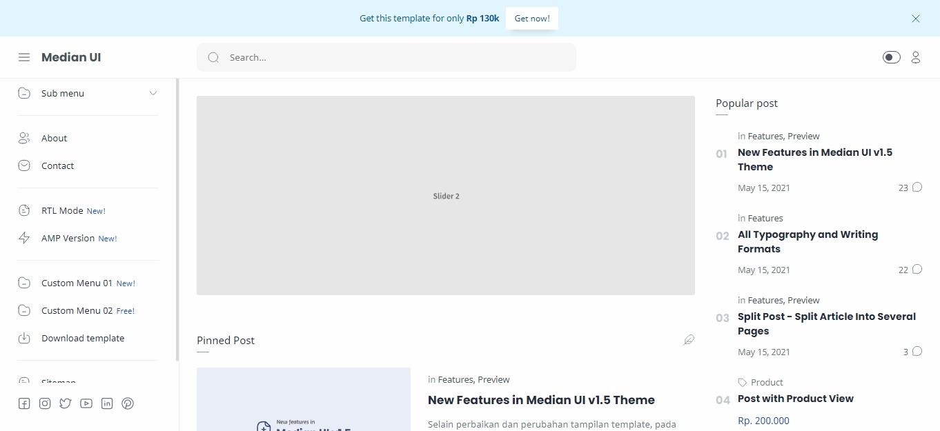 Median UI V1.5 Premium Blogger Template Free Download
