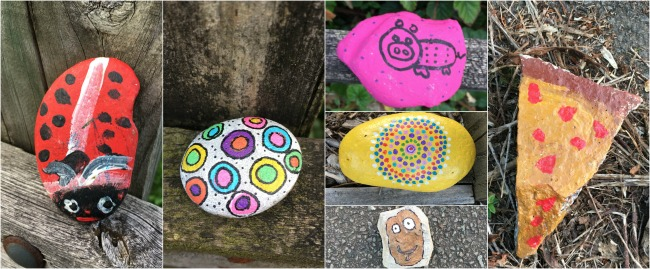 collage-of-painted-rocks-a-ladybird-a-slice-of-pizza-a-pink-pig-and-two-abstract-designs