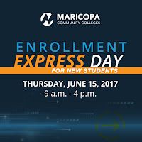 "Poster titled ""Enrollment Express Day for new students Thursday, June 15 2017 9 a.m. -4 p.m."""