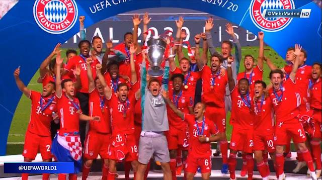 احتفالات لاعبى بايرن ميونخ بالتتويج بدورى أبطال أوروبا 2020