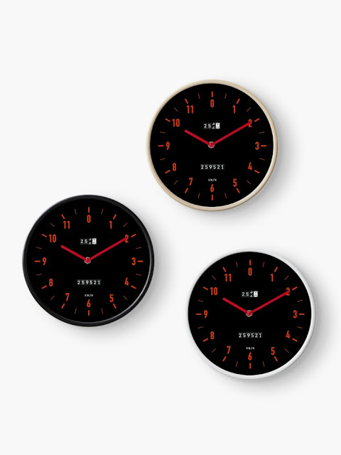 Set of 80's  car speedometer wall clock with red dials