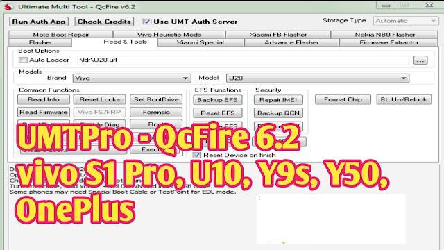 Download UMTv2  UMTPro - QcFire 6.2  vivo S1 Pro, U10, Y9s, Y50,  OnePlus SetUp File