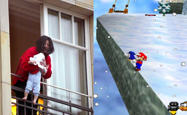 Michael Jackson dangling baby Prince Super Mario 64 penguin over the edge