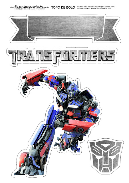 Transformers: Free Printable Cake Toppers.