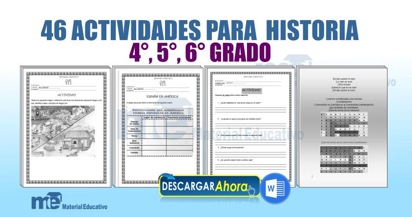 46 ACTIVIDADES PARA HISTORIA PARA 4°, 5°, 6° GRADO PRIMARIA ...