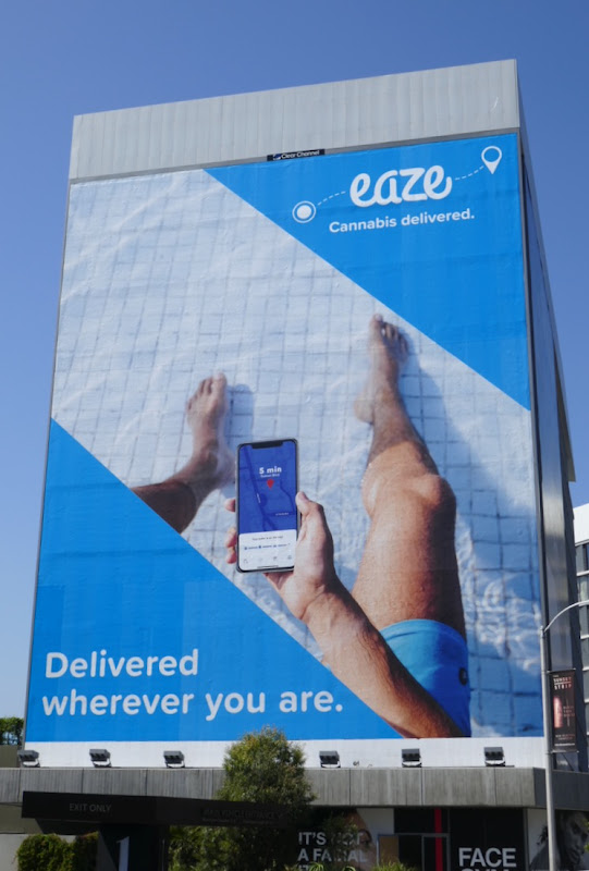 Eaze Cannabis swimming pool billboard