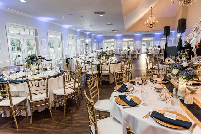 reception ballroom setup at tuscawilla country club