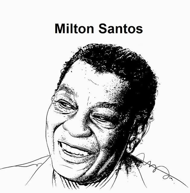 Ilustração do geógrafo Milton Santos feita por  Saulo Nunes.