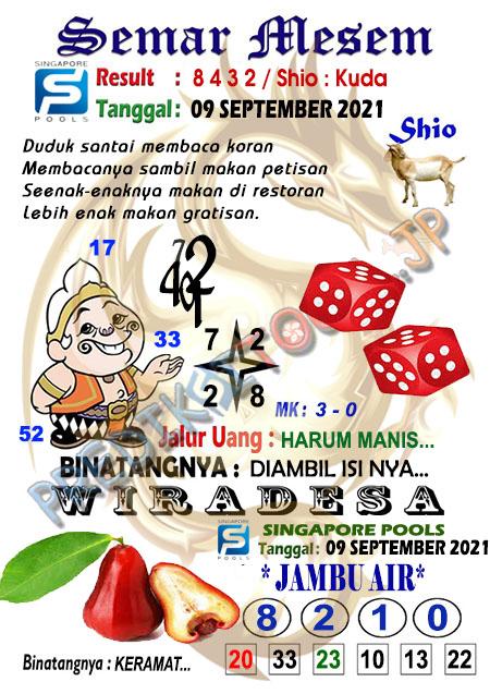 Syair Semar Mesem SGP Kamis 09-Sep-2021
