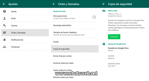 copia de seguridad de WhatsApp en Google Drive