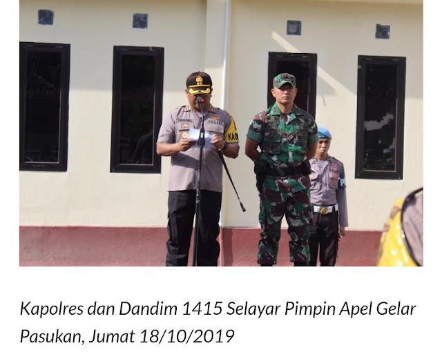 TNI - Polri Selayar, Gelar Apel Pasukan Jelang Pelantikan Presiden
