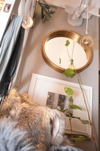 faux fur;crystal door knobs; velvet upholstered chair;pendant lighting;JoFer