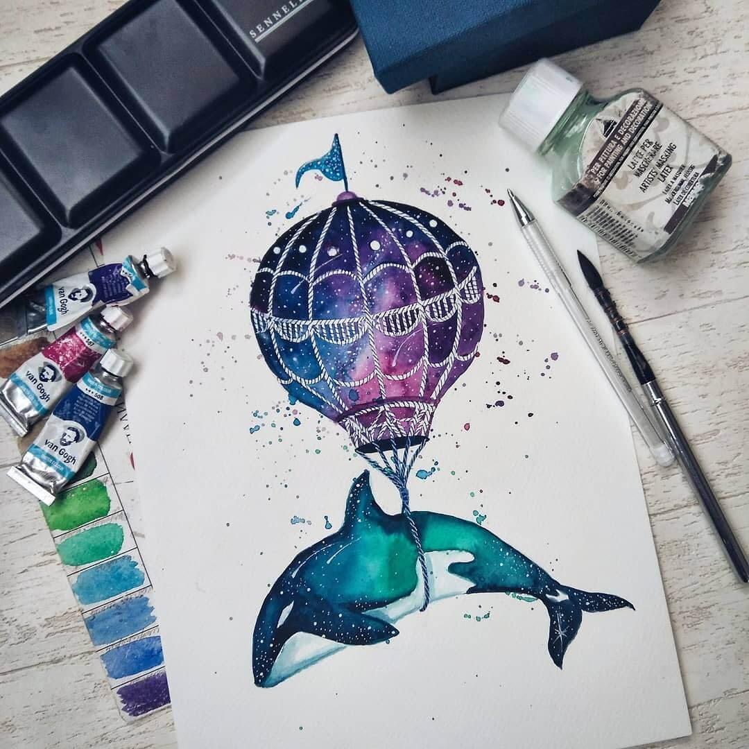 06-Hot-air-balloon-Katya-Goncharova-9-Whale-Paintings-and-1-Giraffe-www-designstack-co