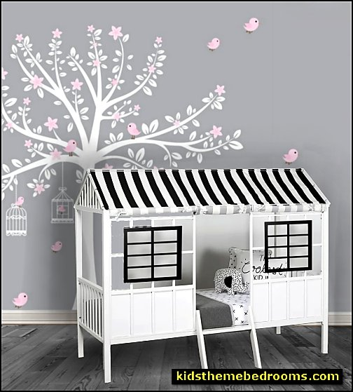 Rowan Valley Forest Twin Low Loft Bed  Tree Wall Decal   garden bedroom furniture
