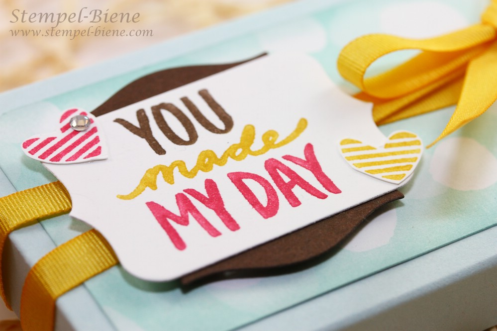 Best Day Ever, Stampin up Sale a bration, Stampin up Stempelparty, Stampin Up Sammelbestellung, Gastgeberinnengeschenk, Schokoladenverpackung