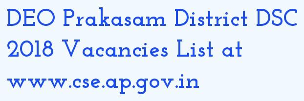 DEO Prakasam DSC 2018 Vacancies List at deoprakasam.co.in