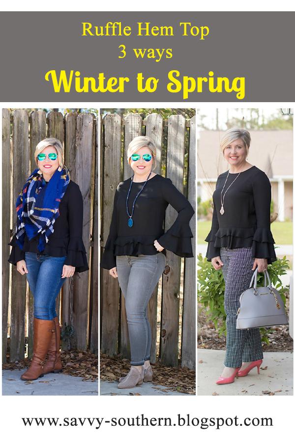 Ruffle Hem/Sleeve top three ways winter to spring