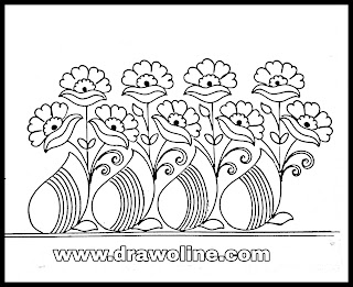 Paisley style embroidery flowers border design drawings/big border design motifs hand work and machine embroidery sarees.