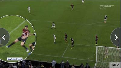 L'intervento evidente di De Sciglio che tocca la palla con la mano