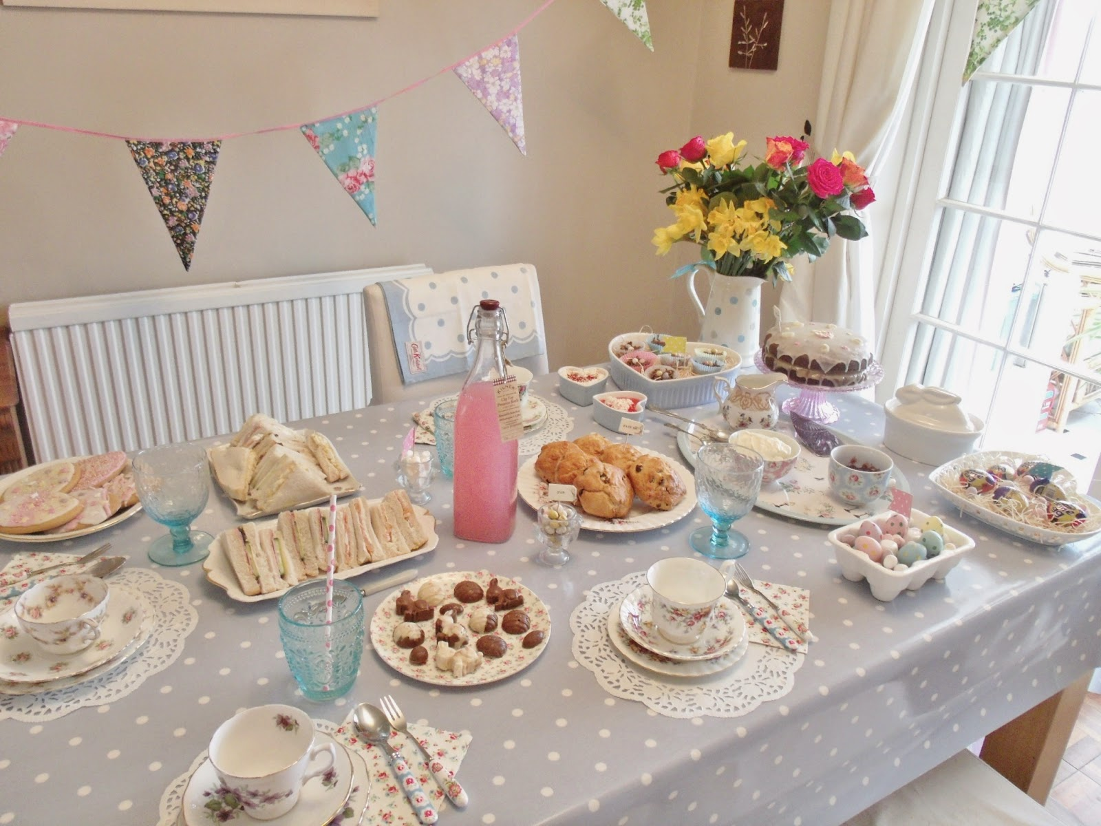 Easter tea party picnic at home afternoon tea