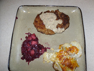 Pork Schnitzel with Red Cabbage and Potatoes  l  www.lorisculinarycreations.com  l  #recipe #schnitzel