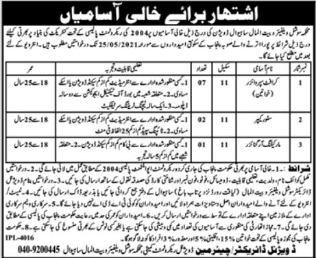 Social Welfare & Bait ul Maal Department Sahiwal Division Jobs 2021 in Pakistan