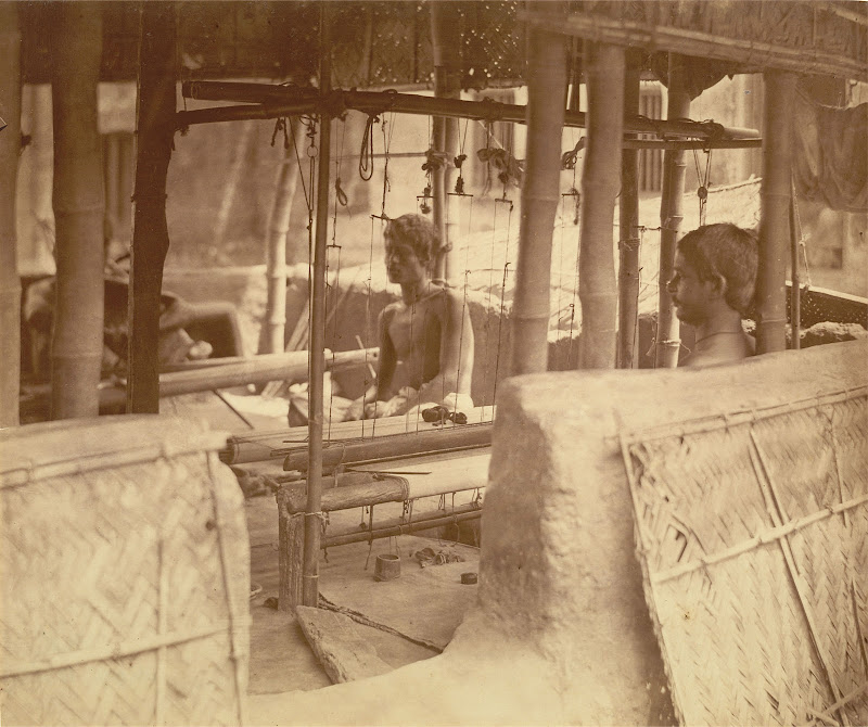 Two Weavers at Work at a Loom in an Open-Sided Mud-Walled House - Eastern Bengal c1860