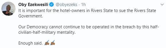 Oby Ezekwesili says rivers state governor lacks discipline for demolishing hotels