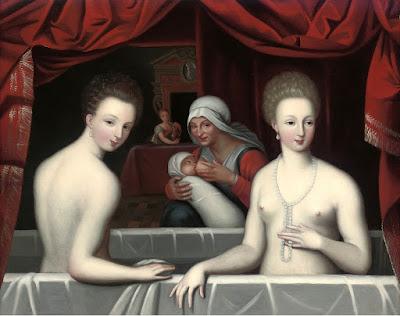 Школа Фонтенбло, XVII век - Габриэль д'Эстре в ванне со своей сестрой
