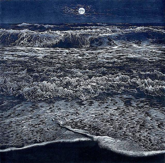 Art Werger crashing waves at night