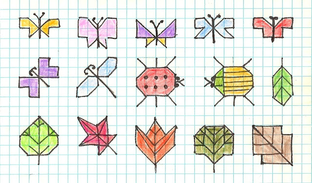 Holbein stitch patterns for butterflies, bugs, and leaves