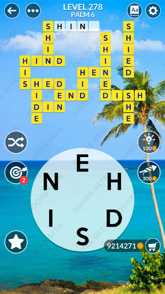 Wordscapes Level 278 answers, cheats, solution for android and ios devices.