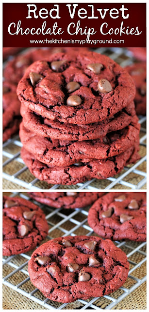 Red Velvet Chocolate Chip Cookies ~ Enjoy that tasty red velvet flavor in a fun cookie form! Mildly-chocolate flavored cookies loaded with milk chocolate chips ... and they're soooo good.  www.thekitchenismyplayground.com