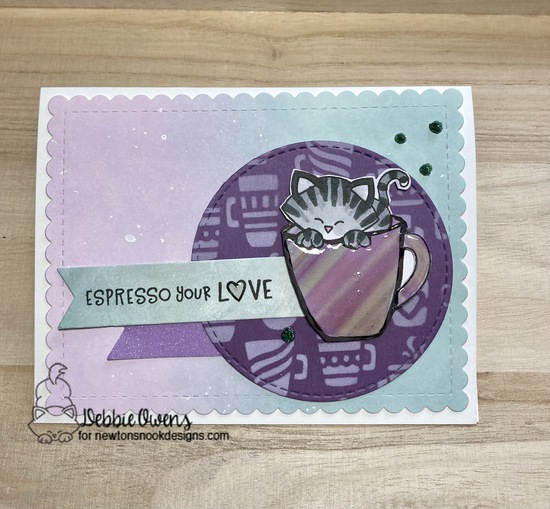 Espresso your love by Debbie features Newton's Mug, Mugs, Love Cafe, Frames & Flags, and Circle Frames by Newton's Nook Designs; #newtonsnook, #inkypaws, #catcard, #cardmaking, #coffeecards