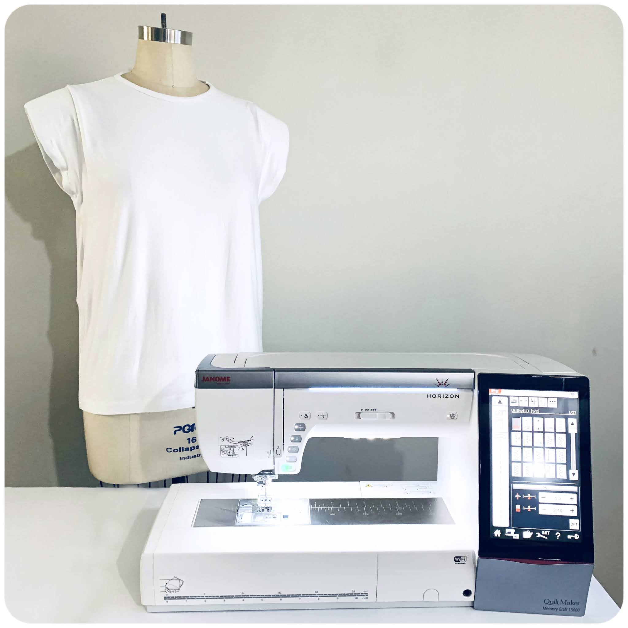 Sewing Knits on Janome Memory Craft 15000, while creating a trendy padded shoulder t-shirt -- Erica Bunker DIY Style!