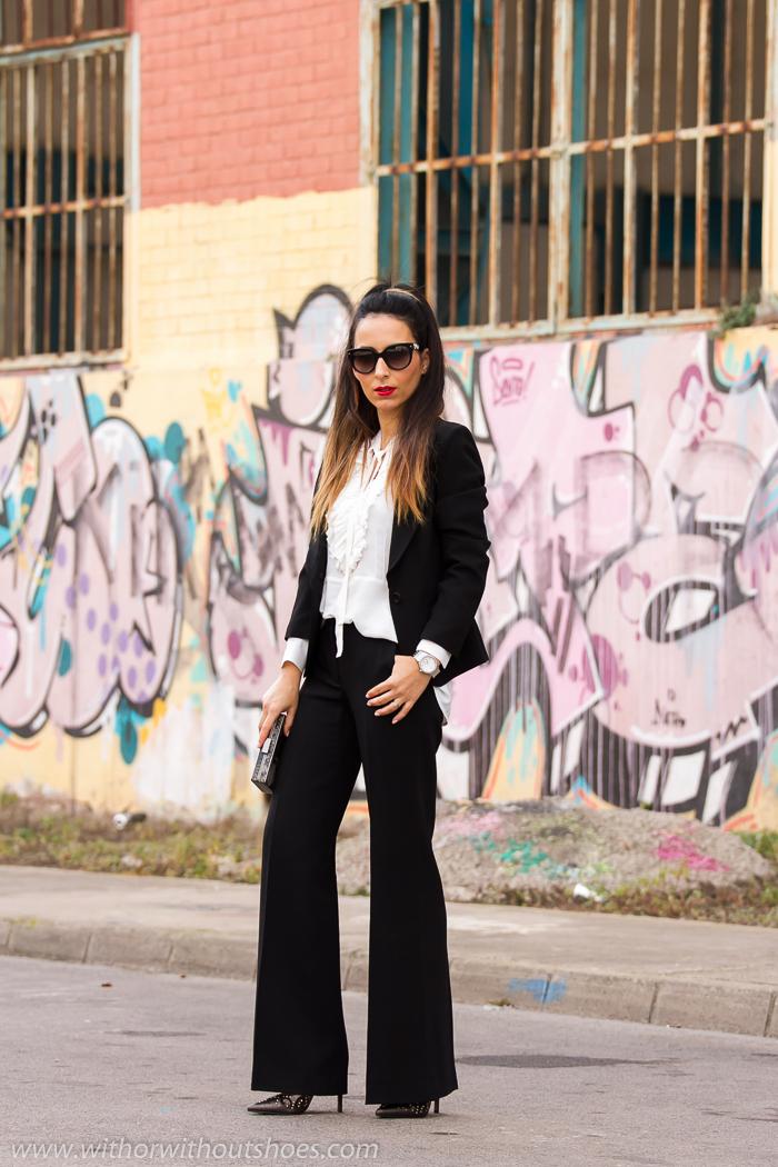 Blogger valenciana de moda belleza con estilo con ideas para looks de fiesta con pantalon y chaqueta