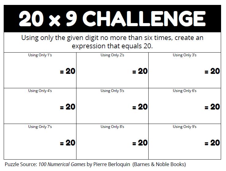 Math = Love: 20 x 9 Challenge