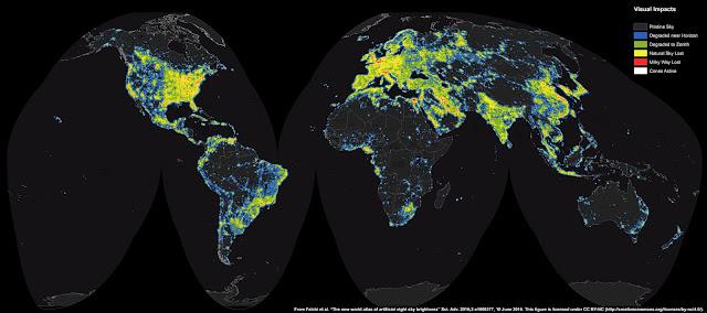 Bản đồ thế giới về ô nhiễm ánh sáng nhân tạo. Bản quyền hình ảnh : F. Falchi et al., Light Pollution Atlas, ISTIL.