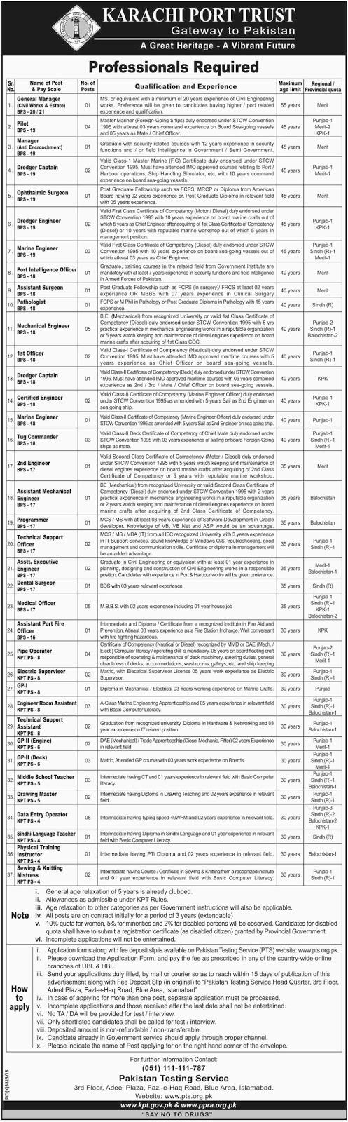 Karachi Port Trust KPT Jobs 2019 By PTS | 300+ Vacancies | Download Application Form