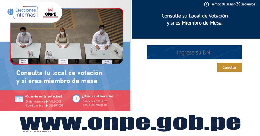 ONPE: Consulta tu Local de Votación y si eres Miembro de Mesa (Elecciones 29 Noviembre 2020)