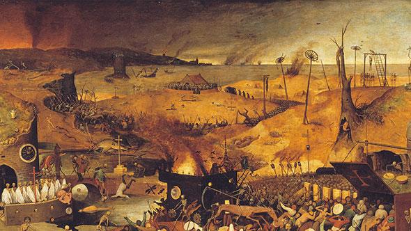 Pintura Triunfo de la muerte de Bruegel el Viejo, que retrata la peste bubónica o peste negra