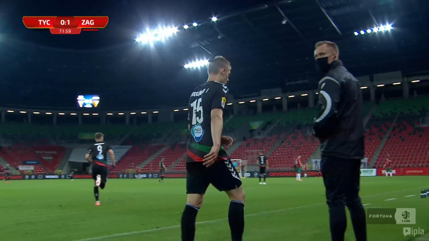 23. kolejka: GKS Tychy - Zagłębie Sosnowiec 1:1<br><br>fot. Polsat Sport / IPLA