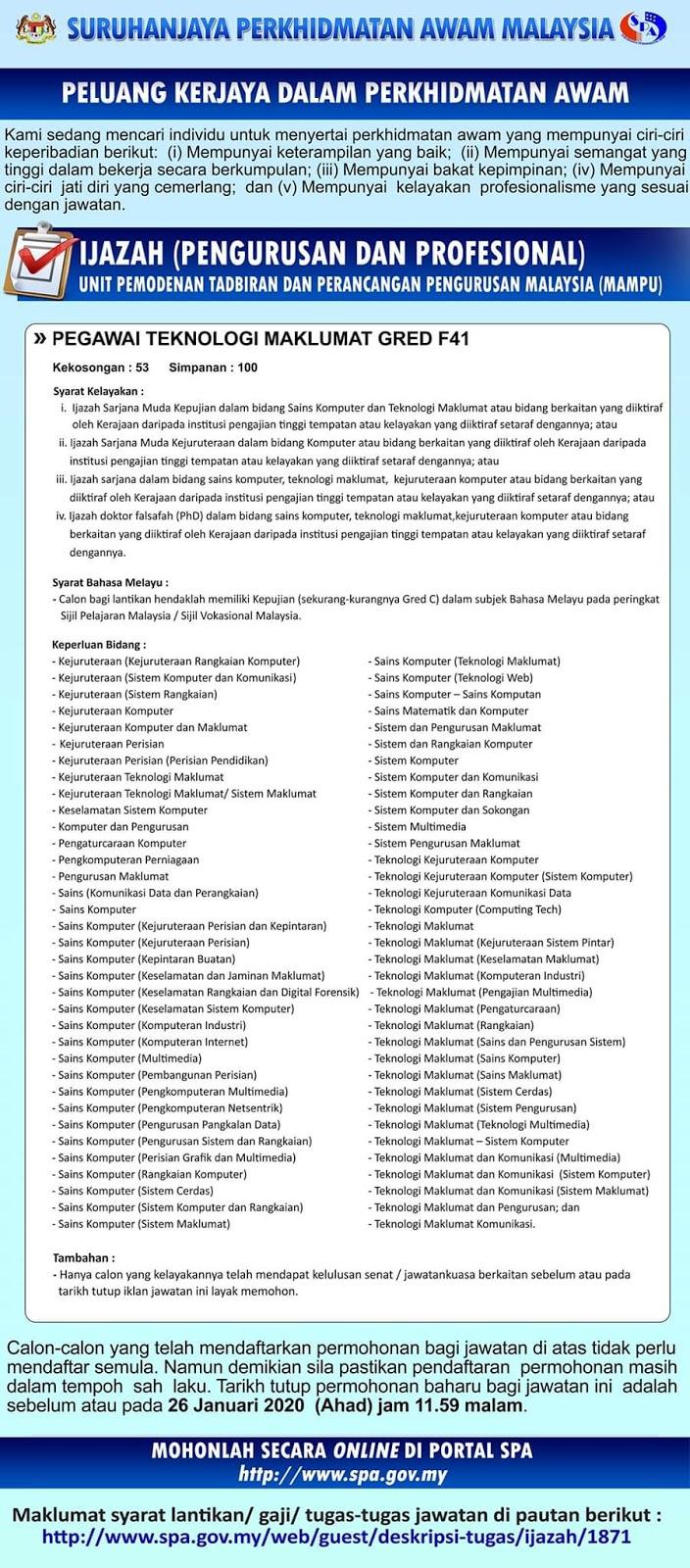 Jawatan Kosong Pegawai Teknologi Maklumat F41 Spa