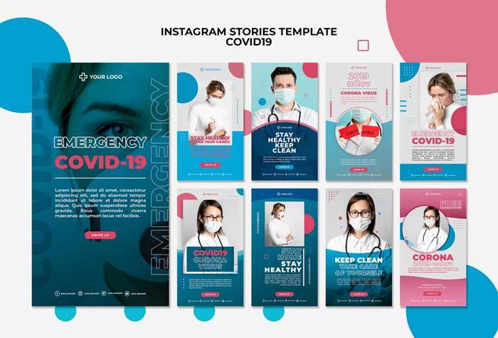 Covid19 Instagram PSD Template