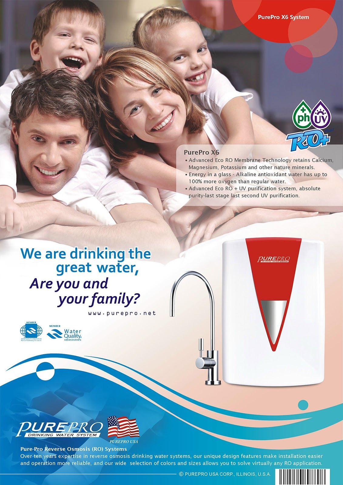 PurePro®  X6 :  Alkaline  RO + UV  Water Purification System