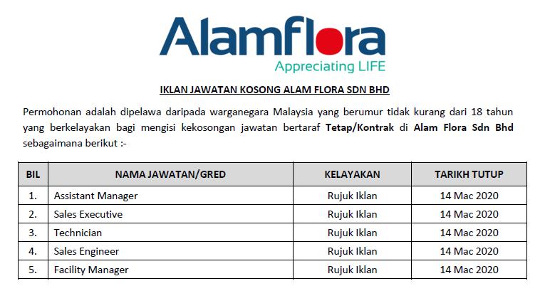 Jawatan Kosong Terkini 2020 Alam Flora Sdn Bhd
