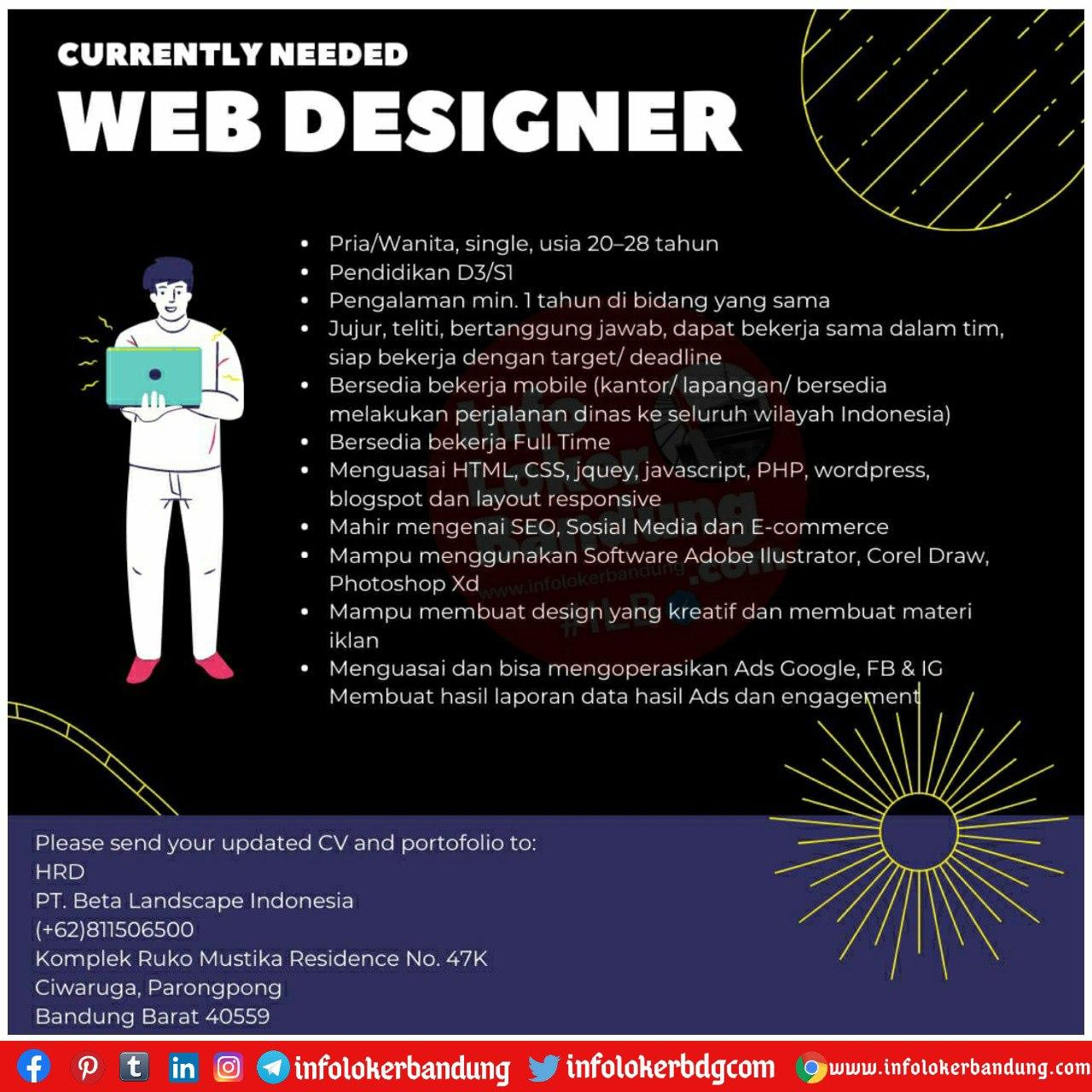 Lowongan Kerja Web Designer PT. Beta Landscape Indonesia Bandung September 2020