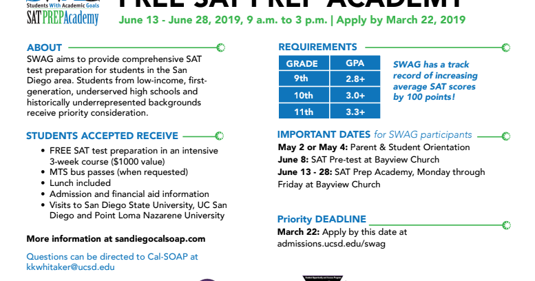Hilltop High Counseling: FREE SWAG SAT Prep Academy