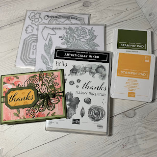 Products used to create handmade thank-you card
